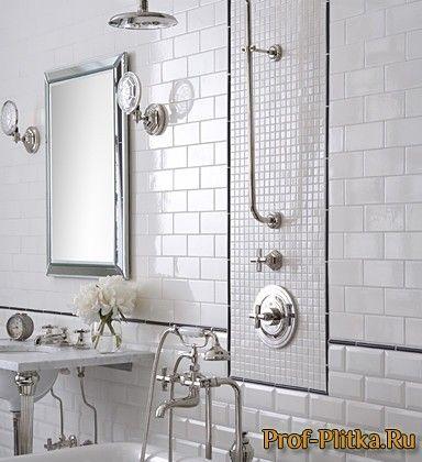 белая плитка кирпичиком в ванной