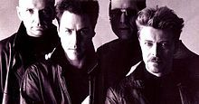 Tin Machinein 1991 From L to R: Reeves Gabrels, Tony Sales, Hunt Sales, David Bowie. Tony and Hunt Sales are sons of TV comedian Soupy Sales.