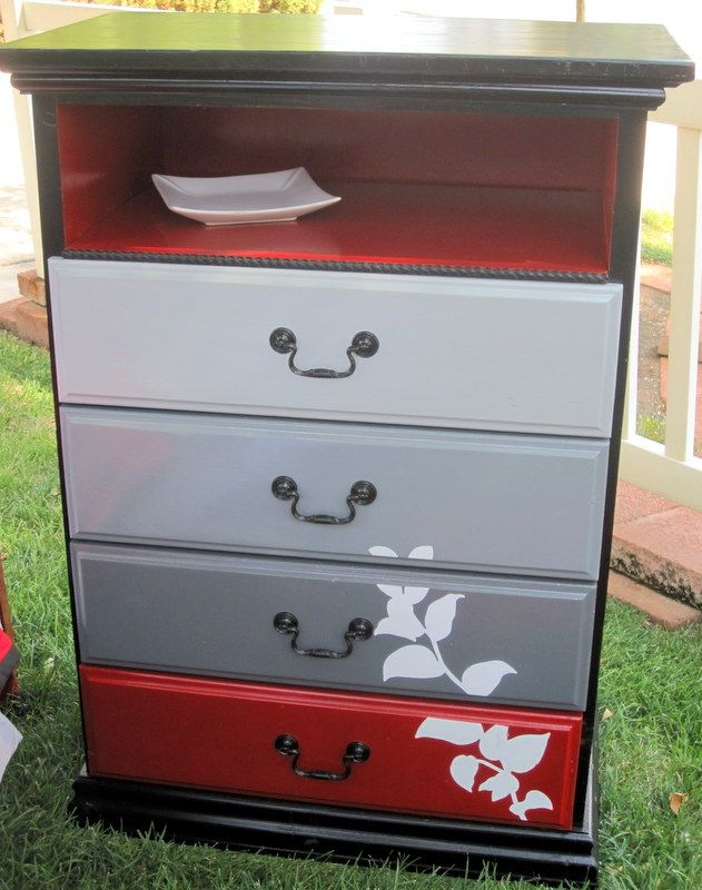 Fun idea to paint the drawers different colors with a motif climbing up them then leaving the - Fetching furniture for bedroom decoration with various red bedroom chair ...
