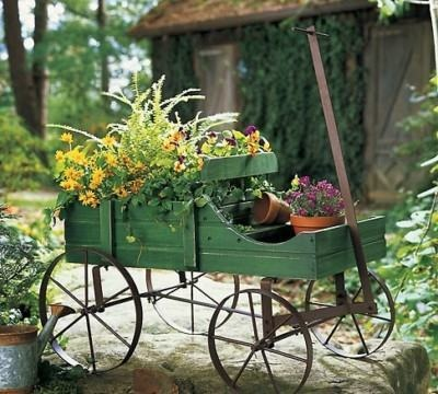 Wooden country style green garden wagon plant planter yard outdoor decor atr new gardens - Decorative vegetable garden ideas stylish green ...