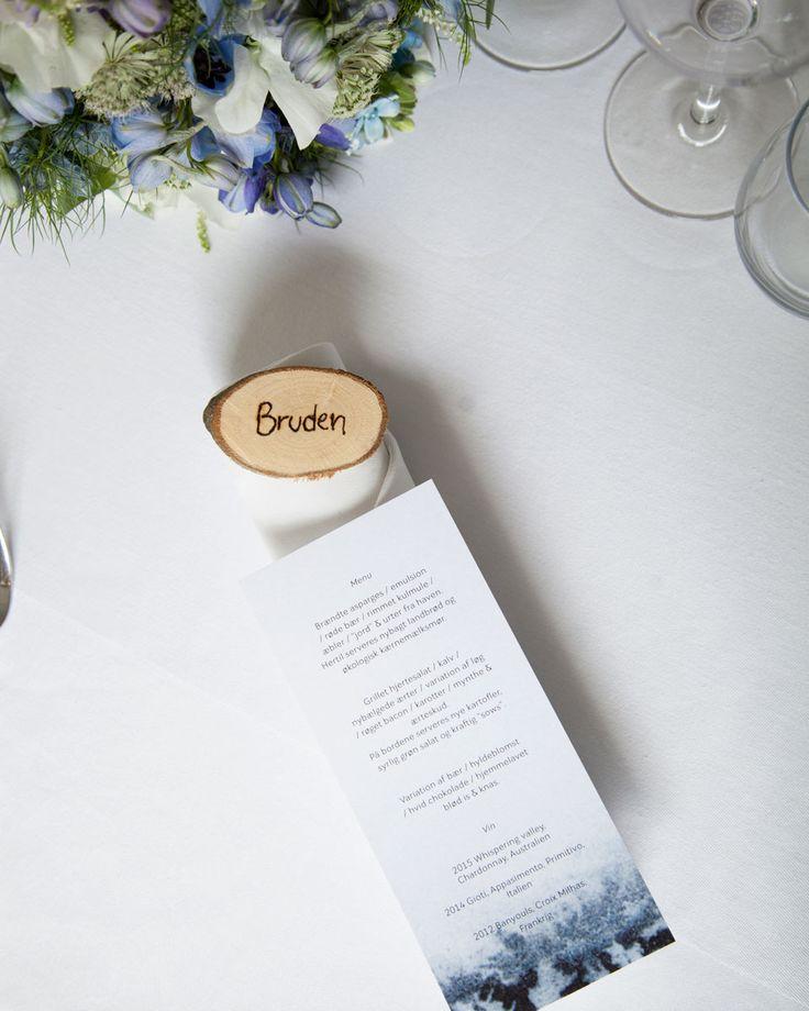 Silke Bonde wedding. Menu cards made with watercolors. Simple and nordic.