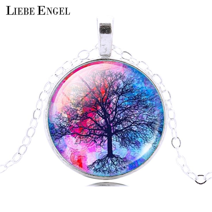 Fashion Life Tree Pendant Necklace Vintage Silver Color Chain Necklace in Jewelry Classic Glass Cabochon Necklace ** Read more  at the image link.