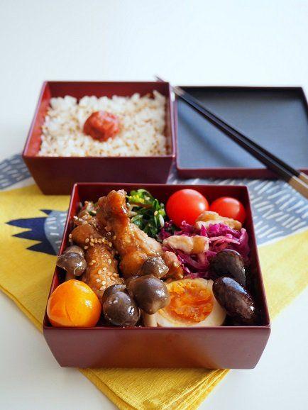 posted by @TAMAKI12620 甘酸っぱさが食欲そそる手羽元のバルサミコ煮弁当...