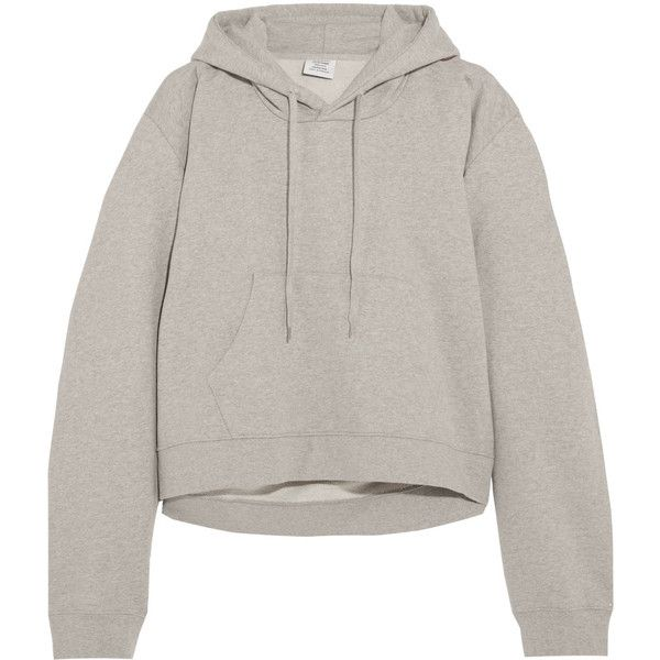 Vetements Printed cotton-blend jersey hooded top ($1,095) ❤ liked on Polyvore featuring tops, vetements, light gray, sport top, sports tops, embroidered top and hooded top