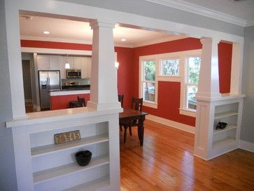 "Shelves on knee wall"" ""Tapered Interior Columns, Craftsman Bungalow Remodel. Dining room color: ""Salsa Red""""""interior columns/bookcases for transition between LR and open kitchen and dining""""Craftsman interior trim""""Interior Craftsman Columns"" Email 