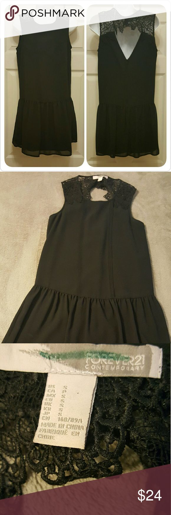 Black dress with crochet detail All occasion dress that is fully lined, sleeveless. Pair with a nice blazer or jacket or just save it for the summer. No flaws at all Forever 21 Dresses Midi
