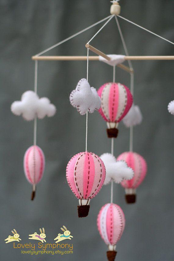 Globos de aire caliente rosa bebé móvil móvil por LovelySymphony