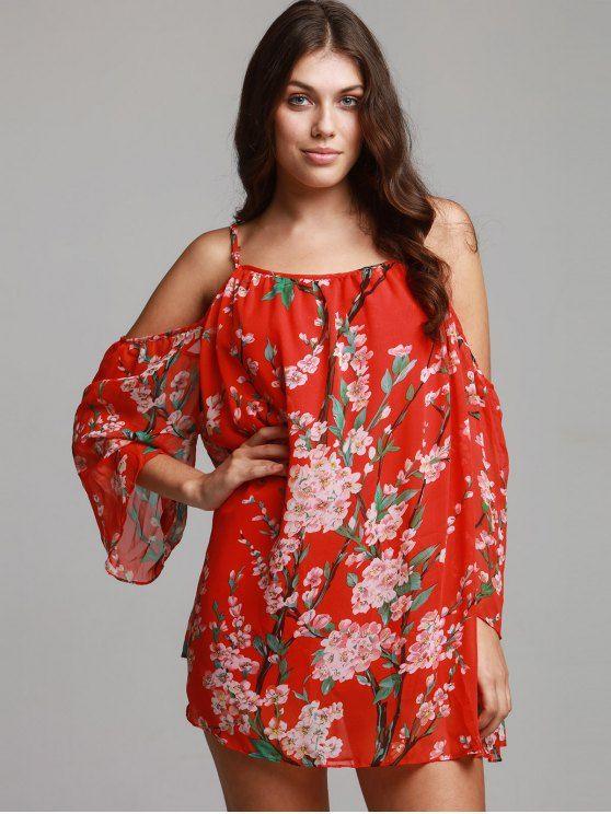Floral Print Chiffon Cami Cold Shoulder Dress - RED XL