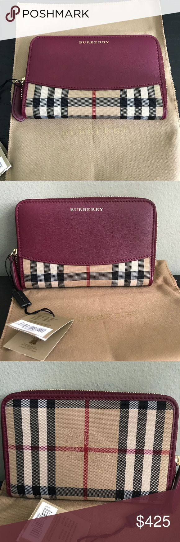 Burberry Marston Wallet Classic check canvas and dark plum leather . 10 credit card compartments , slot for change with a zipper . Another compartment for bills . Great size to fit into a smaller bag . Brand new with tag , comes with a dust bag and Burberry shopping bag . Burberry Bags Wallets