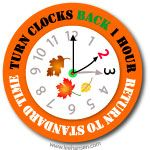 Daylight savings time is ending, so fall back for return to standard time ... reminder sticker.