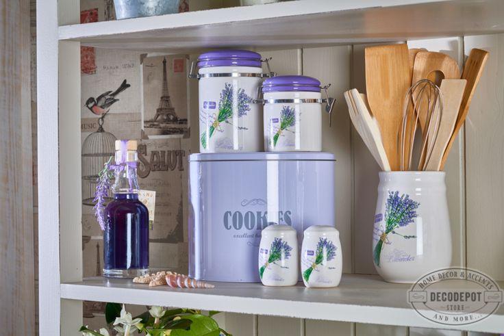 Set Lavender pentru bucătărie. Solniţe şi borcane pentru ustensilele de bucătărie. Lavender set. Kitchen. Tools. Thematic. Purple. DecoDepot. Brasov.