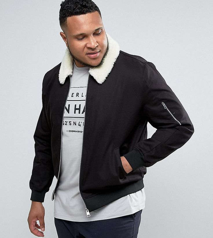 ASOS PLUS Cotton Bomber Jacket With Fleece Collar In Black - Black