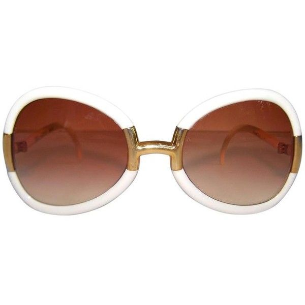 Preowned Hip 1970's Ted Lapidus White & Gold Sunglasses With Orangey... ($250) ❤ liked on Polyvore featuring accessories, eyewear, sunglasses, white, brown lens sunglasses, butterfly glasses, butterfly sunglasses, lens glasses and mod sunglasses