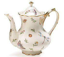 Porcelain Butterfly & Dragonfly Teapot Trimmed in Gold Beautiful Tea Serveware by Burton & Burton, http://www.amazon.com/dp/B000KSXUUE/ref=cm_sw_r_pi_dp_zxf7qb0PDP7RB