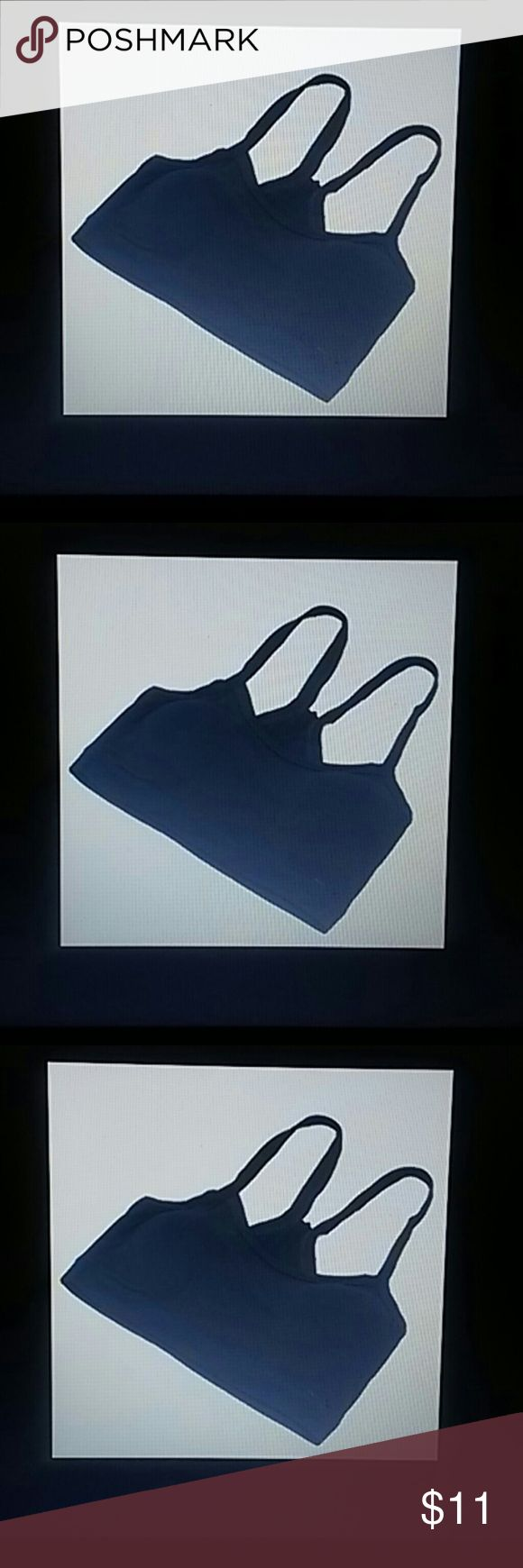 Black Women Sports Bra crop top cami Gym Yoga Bra You are Viewing 1 Brand New Women's Sports Bra Black petite Solid crop top cami Cotton Gym Yoga Bra Wire Free one size. Lenght 28cm/11.02 inches Bust size 64-88cm /25.2 inches 34.65 inches, CHEST PADS are NOT INCLUDED. Super elastic, breathable & Comfortable, 80  % Cotton 20 % Spandex made in China. Majestic Michigan Products Tops Muscle Tees