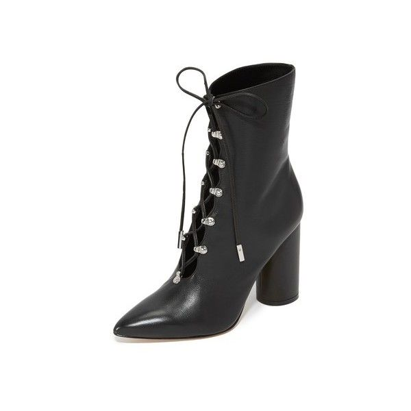 Sigerson Morrison Knight Lace Up Booties (640 CAD) ❤ liked on Polyvore featuring shoes, boots, ankle booties, black, cut-out booties, black lace up boots, black leather ankle booties, lace up boots and lace up booties