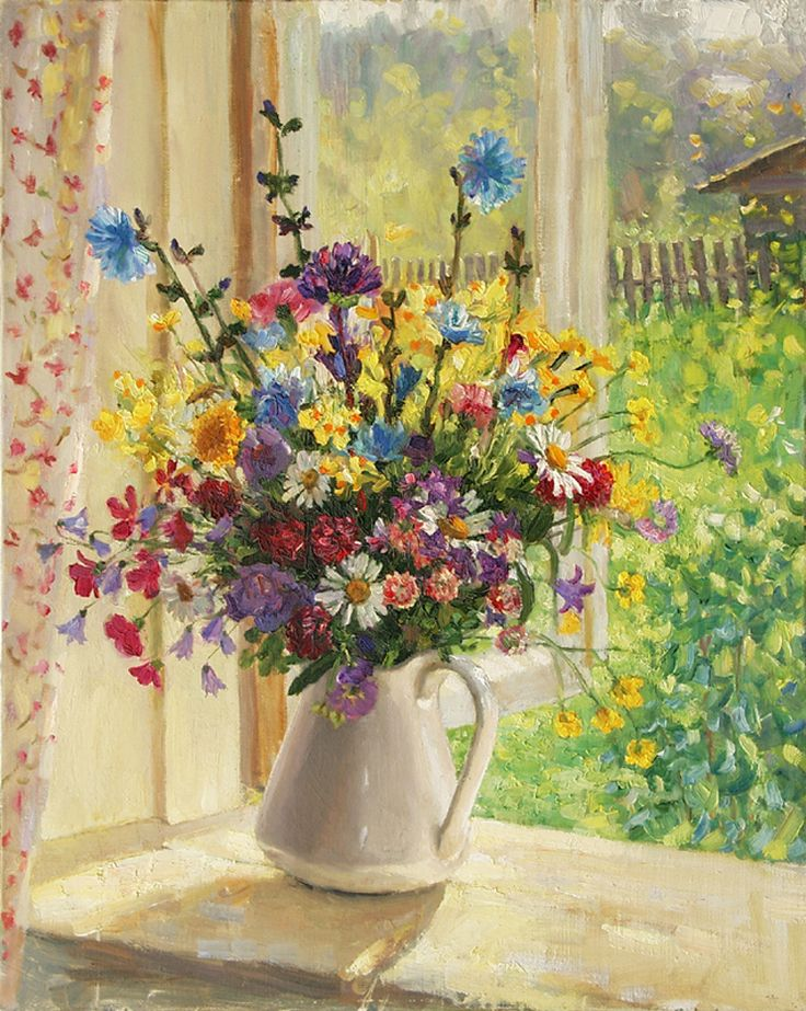 flowers by the window painting