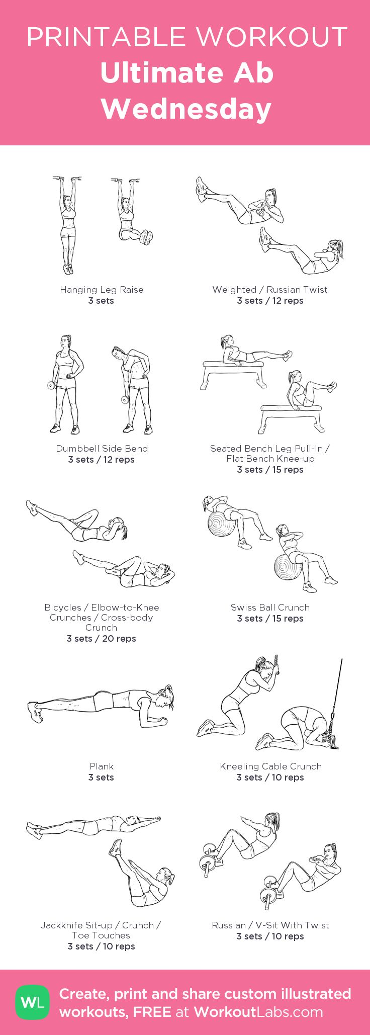 Ultimate Ab Wednesday:my visual workout created at WorkoutLabs.com • Click through to customize and download as a FREE PDF! #customworkout
