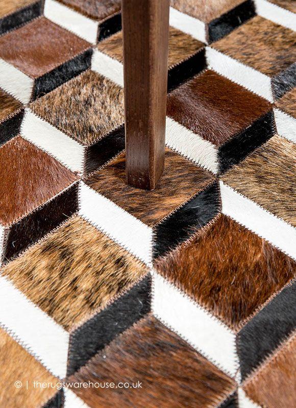 Rubic Brown Rug Mosaic Rugs Cowhide Leather Rug Brown Rug