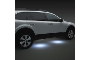 #Outback Puddle Lights. LED lights activate when vehicle doors are unlocked using the keyless entry. A soft glow illuminates the ground aiding entry and exit of a vehicle. MSRP: $149.95 #subaru #parts #accessories