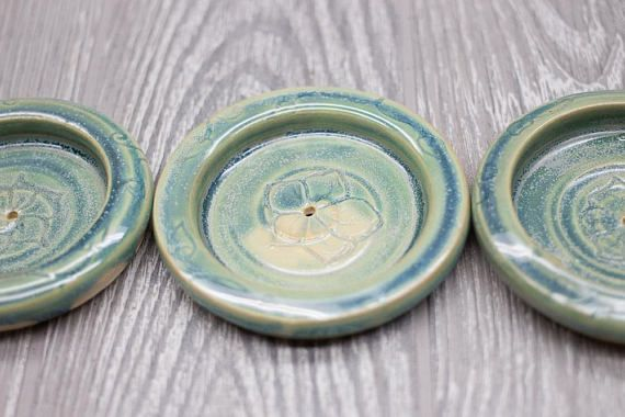 3 x 1/4 Made upon ordering. Round teal plate with center area for incense cones and sticks to be placed into. Just light your incense cone and place it on the plate per incense cone or stick directions. Please do not leave unattended. Can be hand washed or placed in dishwasher*.
