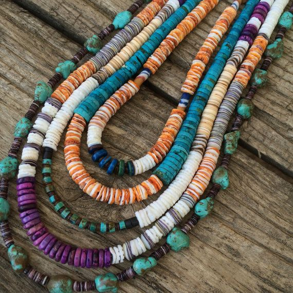 Heishi Shell & Turquoise Necklace  Men's Necklace / Sterling Silver  Womens Necklace /Shells  Southwestern / Shell Jewelry / Festival