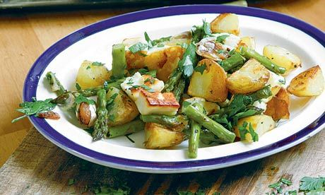 Asparagus, halloumi, new potatoes. Photograph: Simon Wheeler
