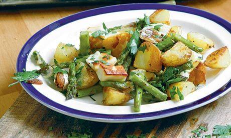 Asparagus, halloumi, newpotatoes. Photograph: Simon Wheeler
