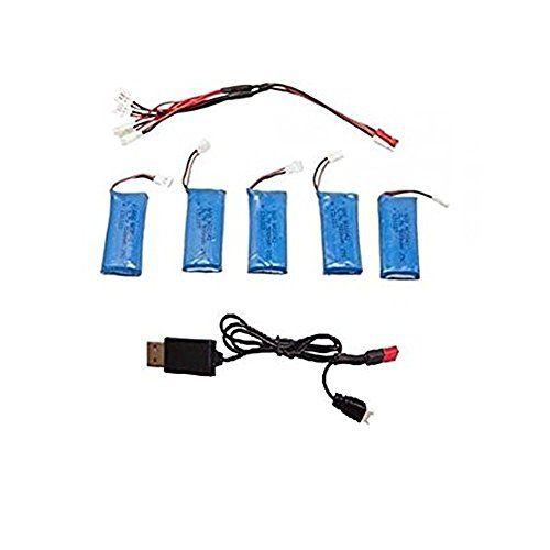 Hensych® Batterie 5PCS 3.7v 500mAh Li-Po avec câble de charge 1 à 5 Balance et 1 à 2 USB Solde câble de recharge pour Walkera Ladybug…