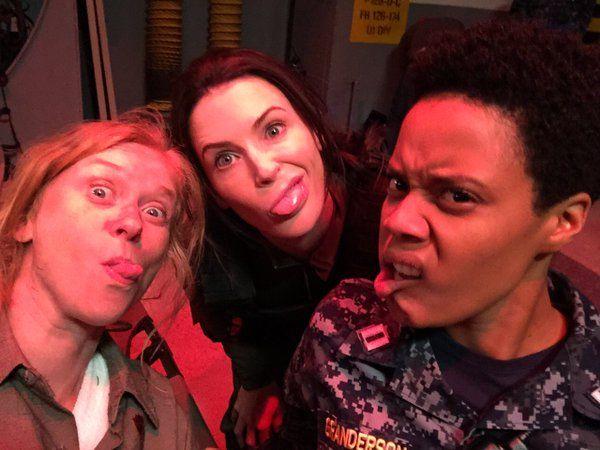 Fay Matterson, Bridget Regan, and Christina Elmore on set of The Last Ship