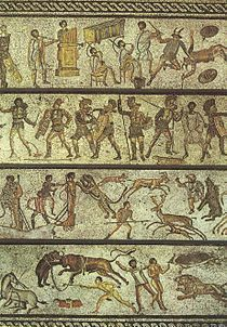 This mosaic depicts some of the entertainments that would have been offered at the games.