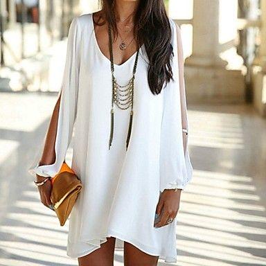 robes casual manches longues en mousseline de soie v-cou des femmes - EUR € 11.99