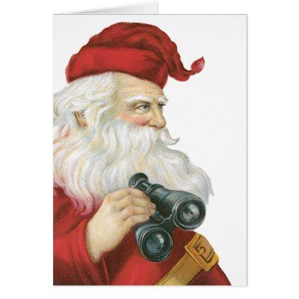#Vintage Christmas Santa Claus with Binoculars Card - #Xmascards #ChristmasEve Christmas Eve #Christmas #merry #xmas #family #holy #kids #gifts #holidays #Santa #cards
