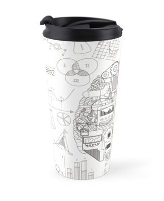 Nerdy Brain #Creativity Design by Gordon White | #RedBubble White #Travel #Mug Left