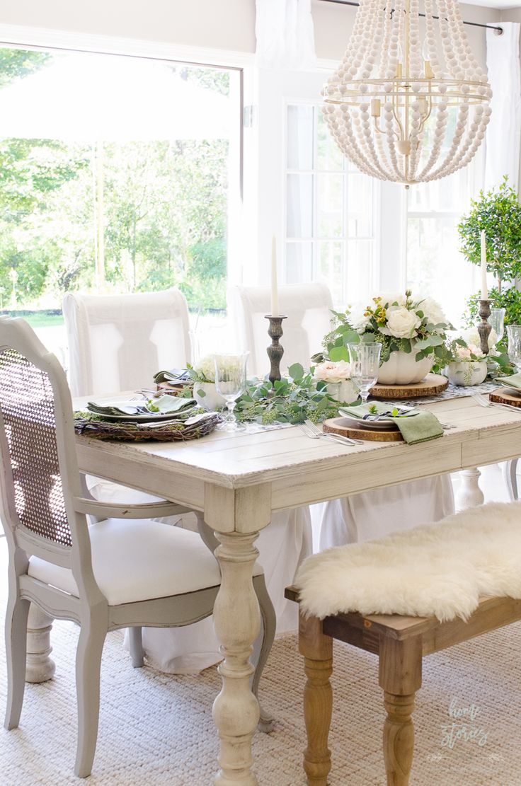 Elegant Black, White, and Green Farmhouse Table Setting for Fall - Home Stories A to Z