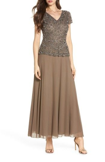 924a43f91e Pisarro Nights Beaded V-Neck Mock Two-Piece Gown in 2019