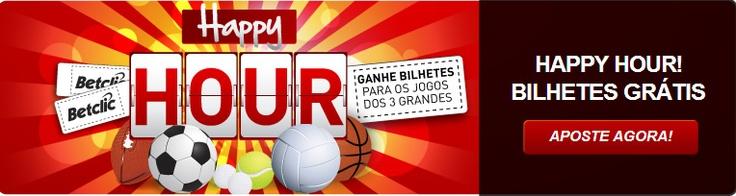 A promoção Happy Hour vai colocar-lhe um sorriso no rosto e bihetes de FC Porto, Benfica e Benfica nos bolsos! Temos 10 bilhetes para os membros que sabem apostar na hora certa. Só tem que apostar para assisitr aos jogos do seu clube favorito.