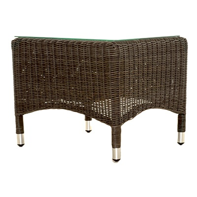 Havana All Weather Wicker Sidetable with Glass