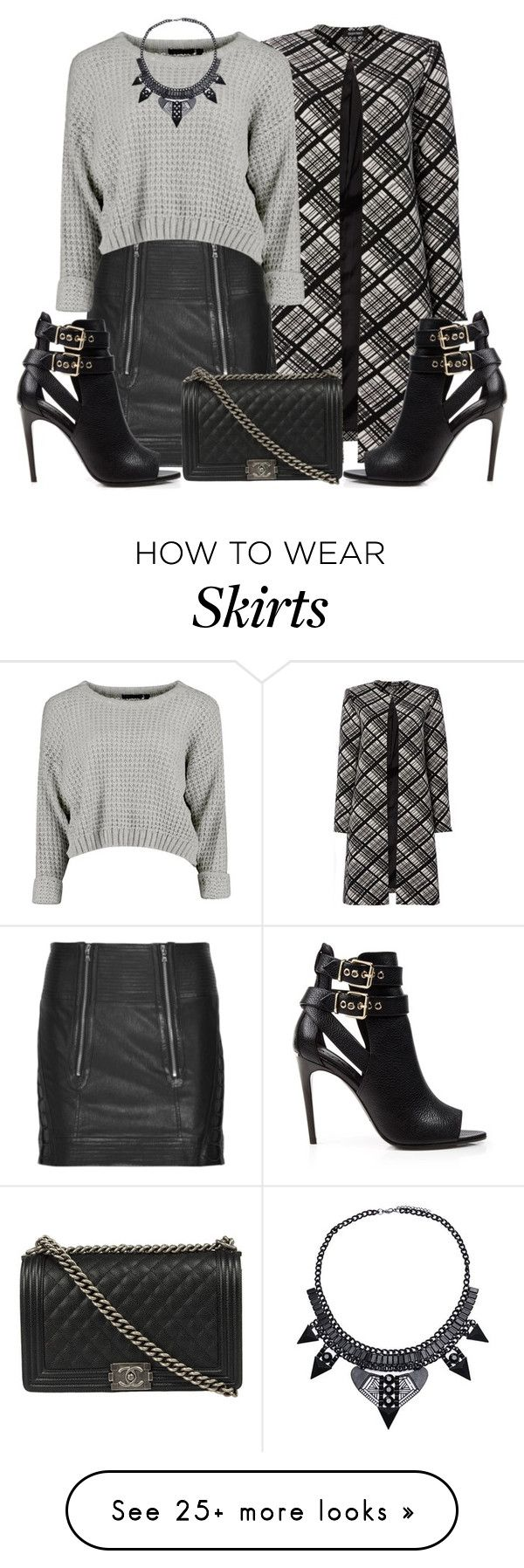 """Croped Sweater and Leather Skirt"" by queenvictorias on Polyvore featuring Ellen Tracy, Phi, Burberry, Chanel, women's clothing, women's fashion, women, female, woman and misses"