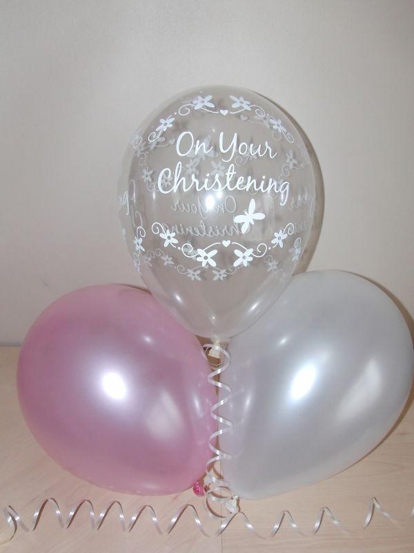 Pearlised balloons, girl's christening