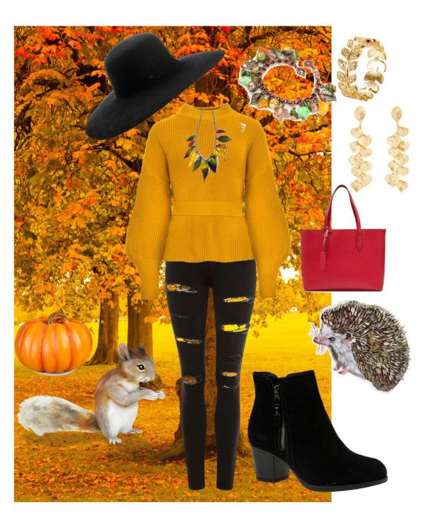 """""""fall colors"""" by cecilvenekamp ❤ liked on Polyvore featuring Topshop, Burberry, Skechers, Kenneth Jay Lane, Maison Michel, Improvements and DOMESTIC"""