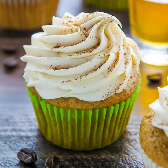 Irish Coffee Cupcakes! Moist brown sugar cupcakes topped with fluffy whiskey buttercream. Perfect for St. Paddy's Day!