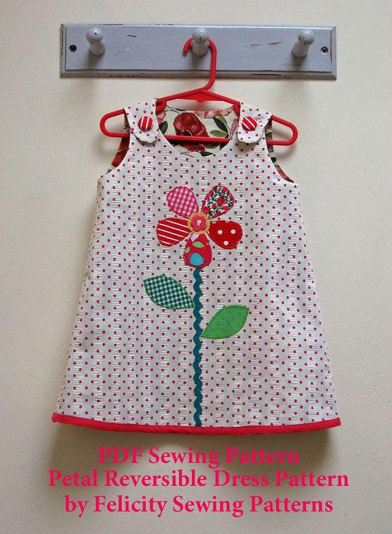 Petal Reversible Dress by Felicity Patterns. Girl's Dress Pattern. Girl's PDF Dress Pattern and Sewing Tutorial.