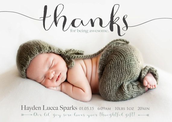 Thanks for being awesome  Birth Announcement Photo by babybaloo birth announcements  thank you card