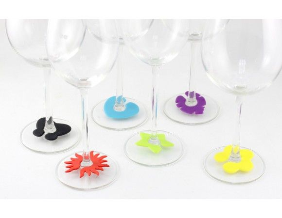 The perfect wine glass markers!  Identifies your drink Easy to attach Fun for entertaining  Made from soft silicone rubber, packs come as a set of six in various colours and designs.