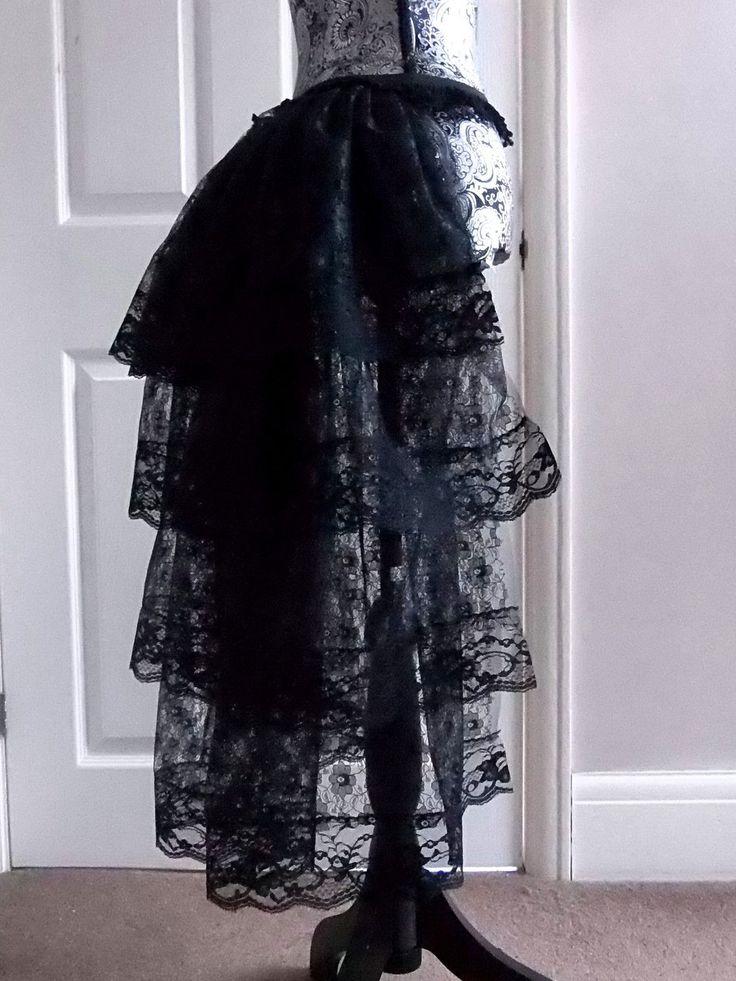 Plus Size Black Bustle Skirt Moulin Rouge Burlesque Steam Punk Tutu Lace Fabric | eBay