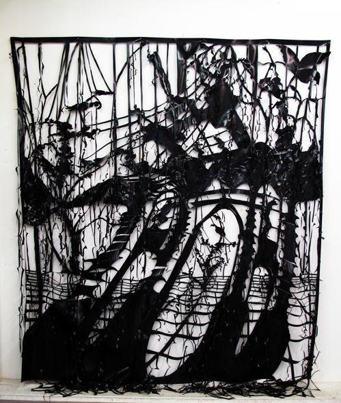 Caroline Rothwell, Flow (2014) Hand cut UV stable structural PVC 252x225cm, Adelaide Biennial: Dark Heart