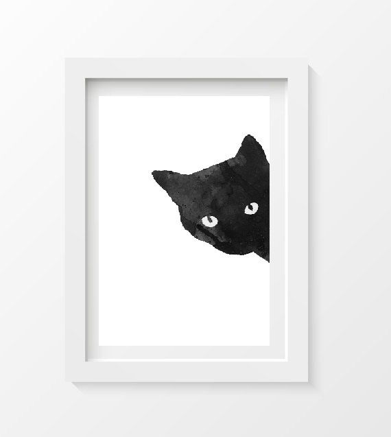 SALE Black CAT Sneaky Cat Print WATERCOLOR Cat Art Black Cat Watercolor Painting Print 5x7