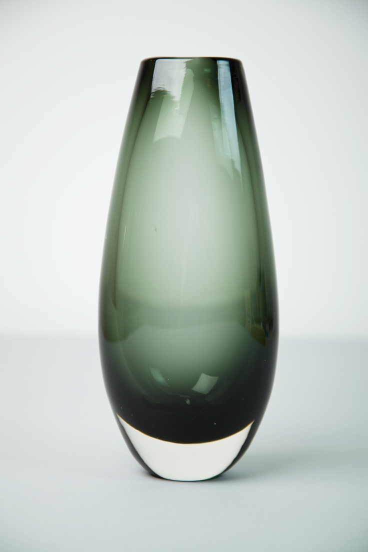 Whitefriars Dark Green Coloured Glass Vase designed by Geoffrey Baxter. Circa 1960's.