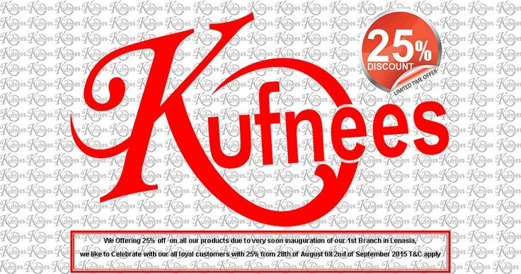 """Kufnees Sales Team, Proudly Announcing to our all loyal customers, we are giving 25% off on all our Products Start on 28th of August End on 2nd of September 2015, due to inauguration of our 1st Branch in Lenasia very soon, we are celebrating in Advanced with all our Customers, you can get discount using following code """"OU28NWWGZZKT"""", plus you earn loyalty reward points as well, this offer valid only for ONLINESHOP BUYER T&C apply."""